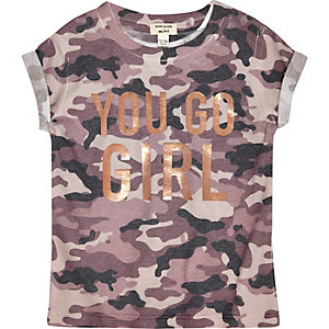 Mini girls camo print go girl T-shirt