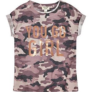 T-shirt imprimé camouflage Go Girl pour mini fille