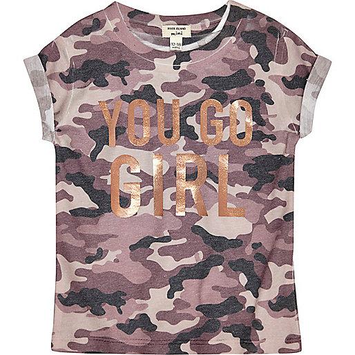 Mini girls camo print go girl T-shirt