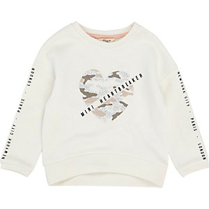 Mini girls white camo heart print sweatshirt