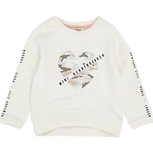 Mini girls white camo heart print sweatshirt