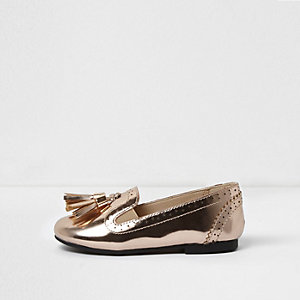 Mini girls metallic tassel brogue loafers