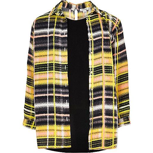 Chemise avec superposition à carreaux jaune pour fille