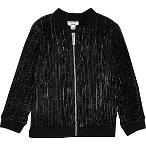 Mini girls metallic black pleated bomber