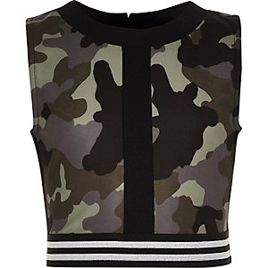Girls khaki camo print crop top