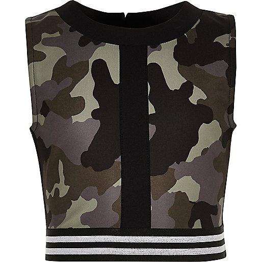 Crop top imprimé camouflage kaki pour fille