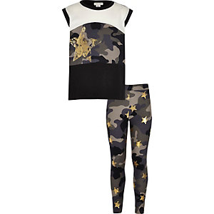 Girls camo metallic star print legging set