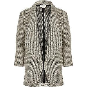 Girls grey knit waterfall blazer