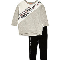 Mini girls grey sweatshirt leggings set