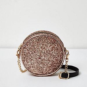 Gold glitter circle shoulder bag