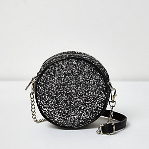 Silver glitter circle shoulder bag