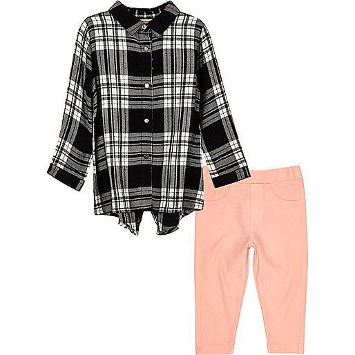 Mini girls black check shirt leggings set
