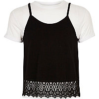 Girls white T-shirt with cami top