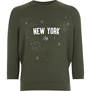 Girls khaki green sparkly sweatshirt