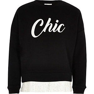 Girls black print lace hem sweatshirt