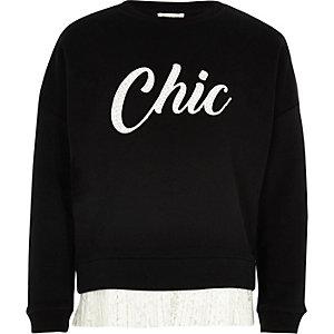 Girls black print lace hem sweatshirt