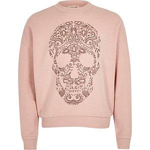 Rosa Sweatshirt mit Totenkopfmotiv und Leoprint