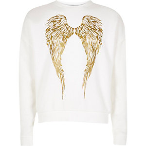 Girls white metallic wings print sweatshirt
