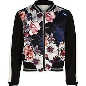 Girls black floral print bomber jacket