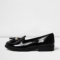 Girls black patent tassel brogue loafers