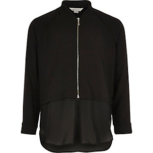 Girls black split hem bomber shirt