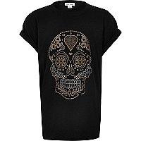 T-shirt noir imprimé tête de mort thermo-collé pour fille