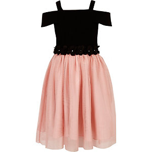 Girls black and pink bardot prom dress