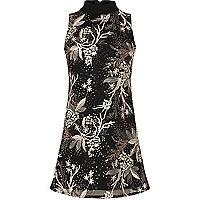 Schwarz Pailletten-Kleid mit A-Linie