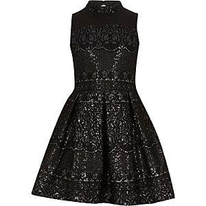Robe de galas noire brillante en dentelle à encolure montante pour fille