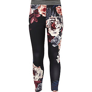 Girls black floral print glitter leggings