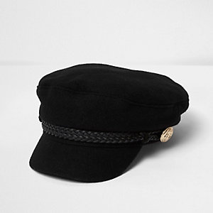 Mini girls black captain's hat