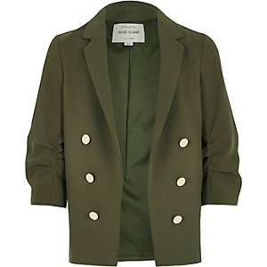 Girls khaki green ruched sleeve blazer