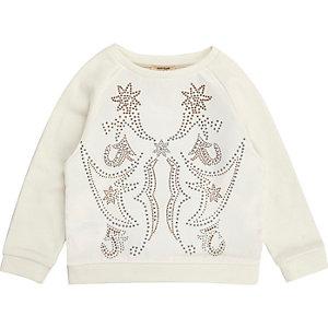 Mini girls cream satin stud sweatshirt