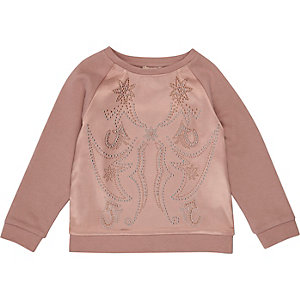 Mini girls pink satin stud sweatshirt
