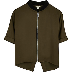 Mini girls khaki green light zip bomber