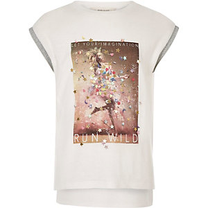Girls white print T-shirt