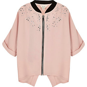 Mini girls pink embellished shacket