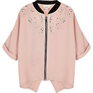 Mini Mädchen – Pinkfarbene verzierte Hemdjacke