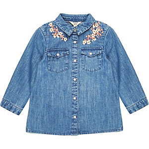 Mini girls floral denim shirt