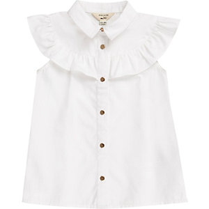 Mini girls white frill trim sleeveless shirt