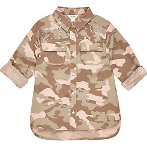 Mini girls pink embellished camo shirt