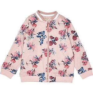 Blouson bombardier rose à imprimé floral pour mini fille