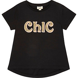 Mini girls black chic print T-shirt