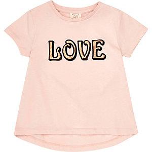 Mini girls pink 'Love' print T-shirt
