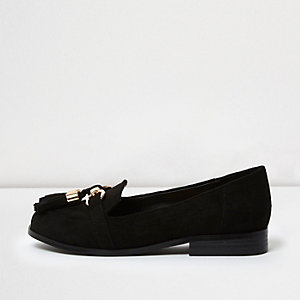 Girls black snaffle loafers