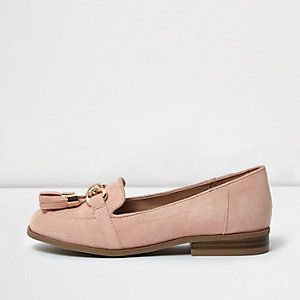 Girls pink tassel loafers