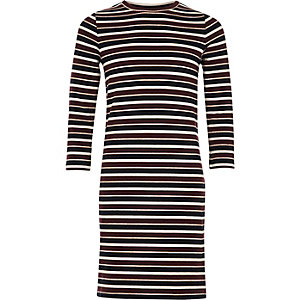 Girls purple stripe column dress