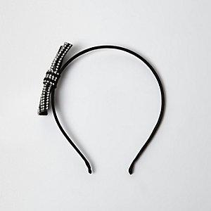 Serre-tête noir avec nœud orné de strass pour fille