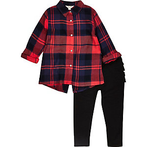 Mini girls red check shirt frill leggings set