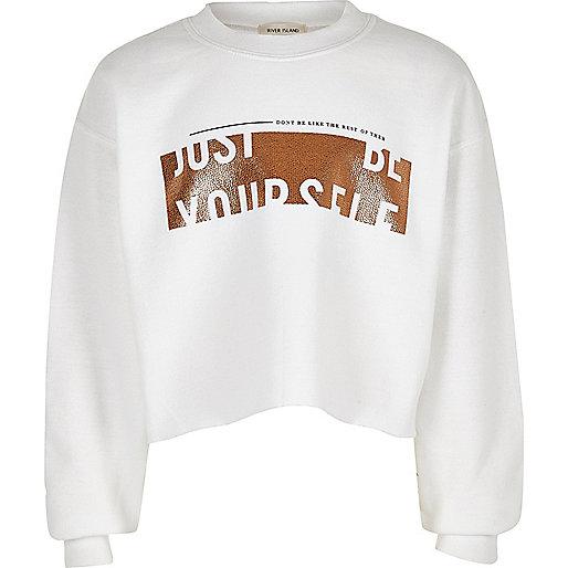 Girls white 'Be Yourself' print sweatshirt